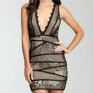 Bebe Lace Deep V Open back Dress